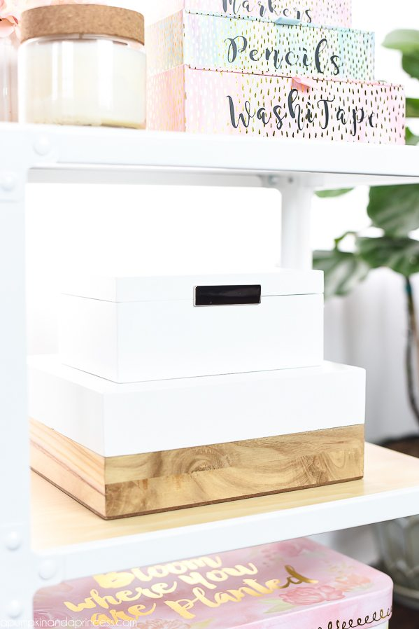 Storage Cart Office Organization – keep your office organized with a storage cart and pretty pink and white organization boxes.