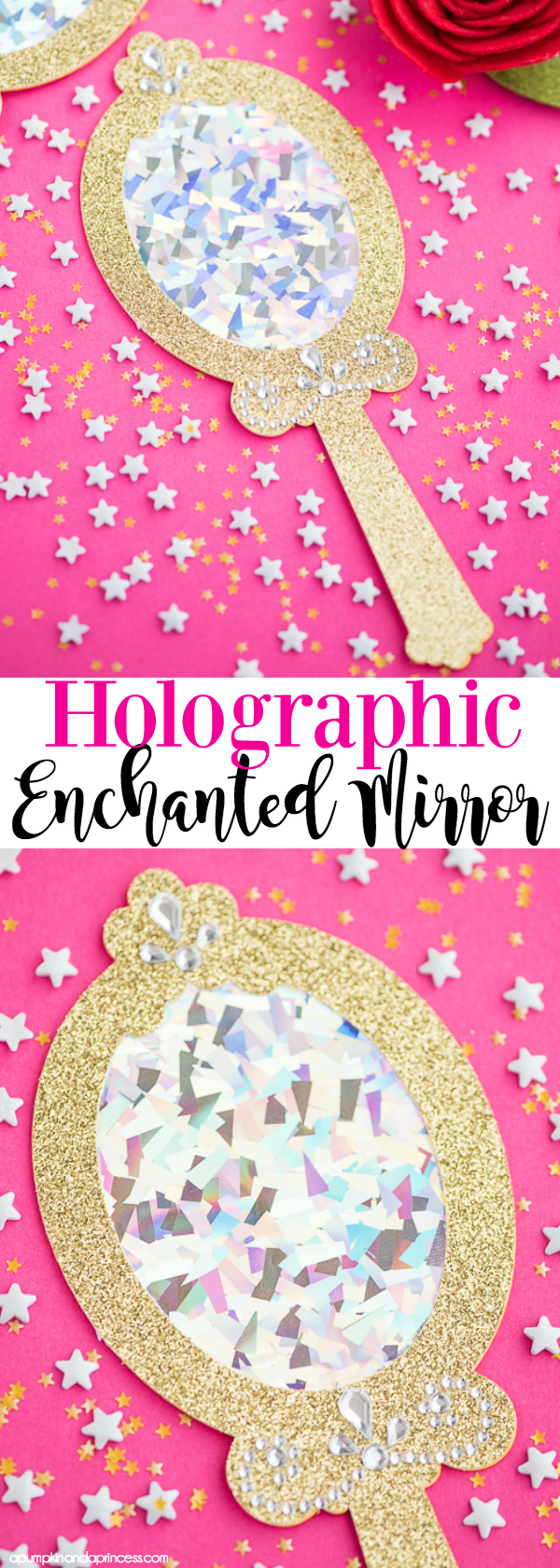 How to make holographic enchanted mirror party favors inspired by Beauty and the Beast