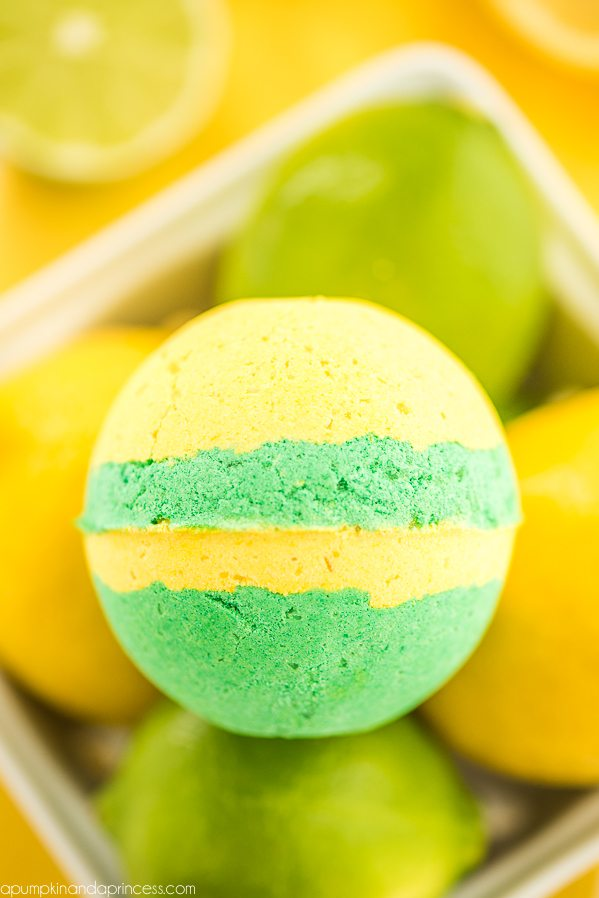 How to make lemon lime bath bombs – create the perfect citrus scented bath bomb for summer with layers of lemon and lime essential oils.