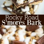 Rocky Road S'mores Bark – layers of graham crackers, chocolate, toasted marshmallows and walnuts make this delicious treat an easy recipe for parties