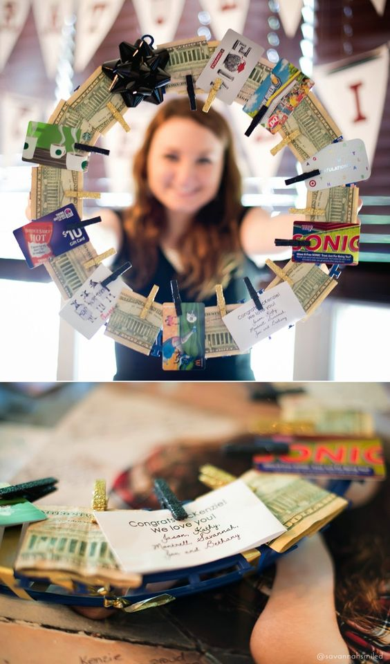 money attached to wreath