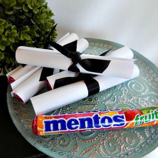 mentos rolled up decorative graduation