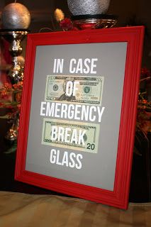 money in picture frame