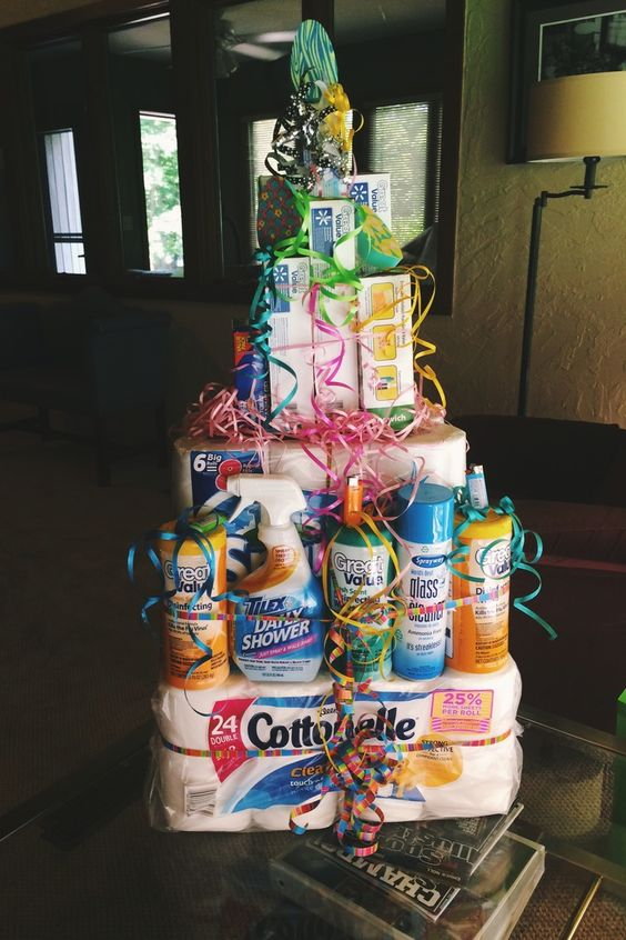 tower of cleaning supplies