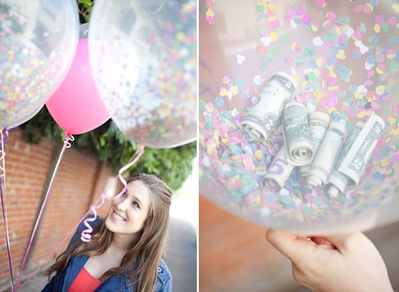 balloons filled with money
