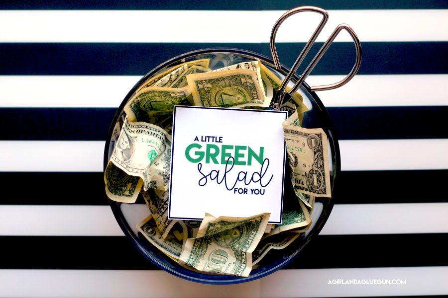 money in salad bowl