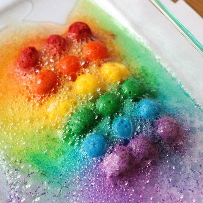 rainbow balls dissolve in pan