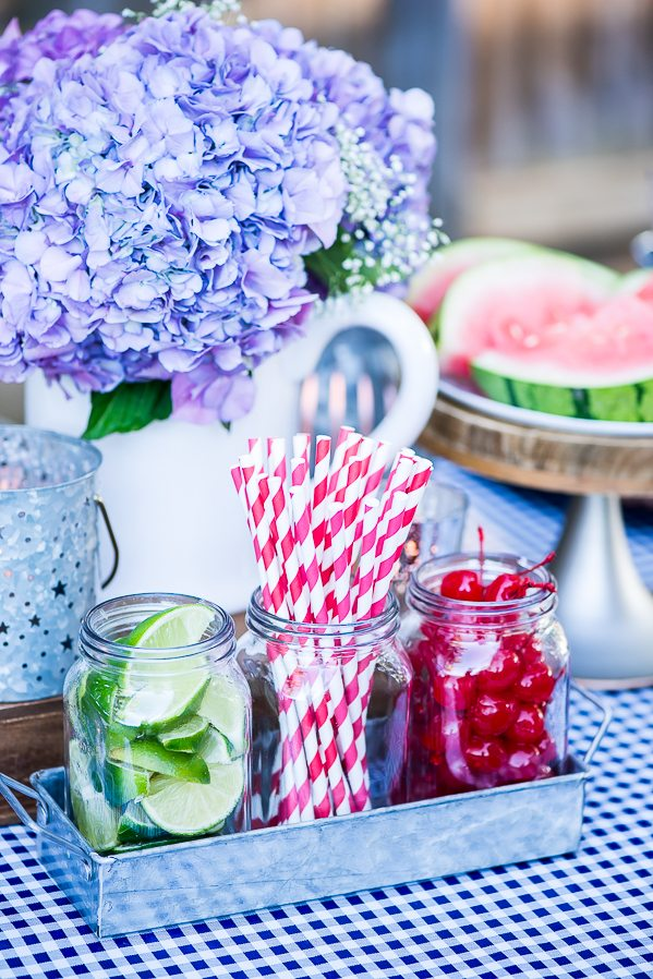 Summer BBQ tablescape beverage station