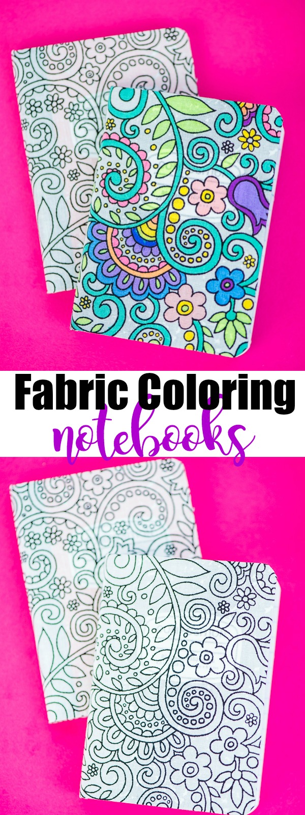 DIY Fabric Coloring Notebook made with adhesive fabric sheets and fabric markers.