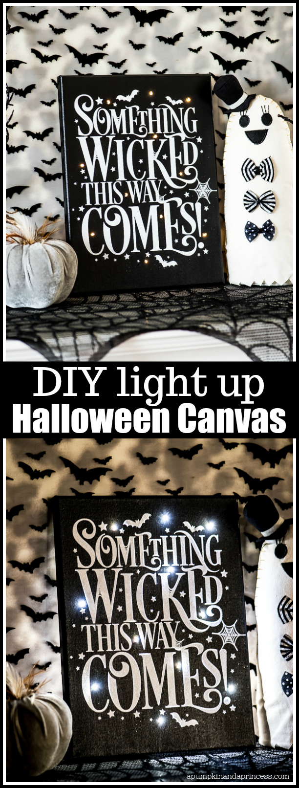 DIY Halloween Twinkle Light Canvas - how to make a Halloween twinkle light canvas using glitter heat transfer vinyl and fairy lights.