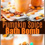How to make your own Pumpkin Spice Bath Bombs topped with icing and sprinkles. This bath bomb makes a great handmade gift idea!