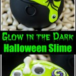 Cauldron Halloween slime party favors made with glow in the dark slime, eyes, pumpkins, spiders and bones!
