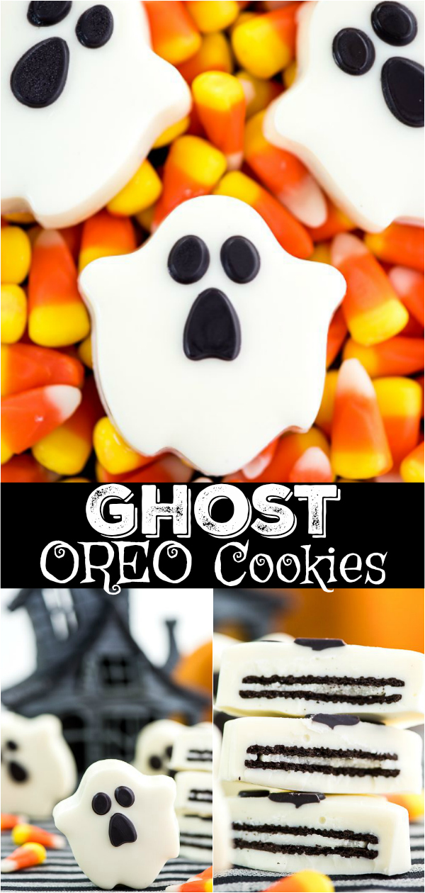 Ghost cookies made out of OREO cookies