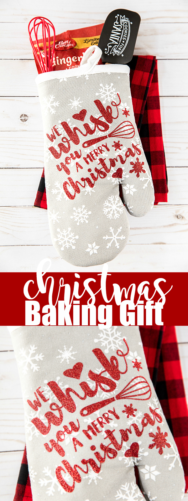 "Holiday Baking Oven Mitt Gift – ""We Whisk You A Merry Christmas"" handmade Christmas oven mitt gift."