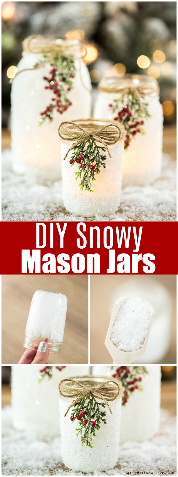 Holiday archives young busy mom diy snowy mason jars create faux snow covered mason jar luminaries for solutioingenieria Choice Image