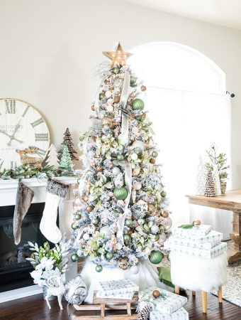 Metallic Winter Wonderland Christmas Tree – create a flocked winter wonderland Christmas tree with green and metallic ornaments, and rustic wood decorations.
