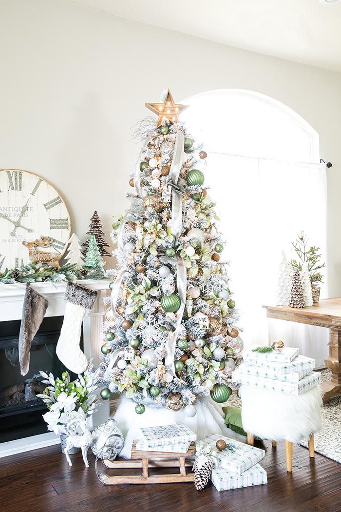 metallic winter wonderland christmas tree create a flocked winter wonderland christmas tree with green and