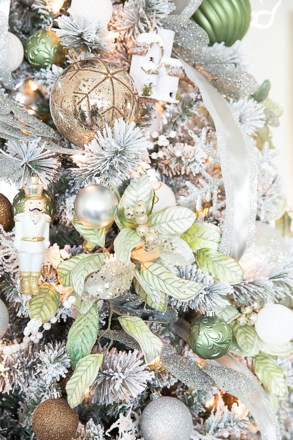 metallic winter wonderland christmas tree create a flocked winter wonderland christmas tree with green and - Winter Wonderland Christmas Decorating Ideas