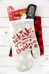 """Holiday Baking Oven Mitt Gift – """"We Whisk You A Merry Christmas"""" handmade Christmas oven mitt gift."""