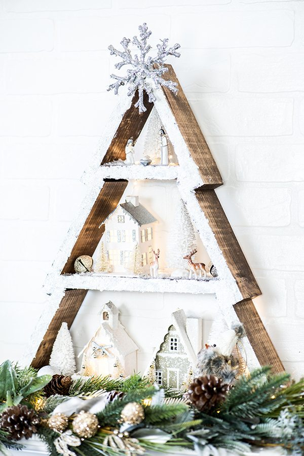winter wonderland holiday tree shelf how to make a snowy cabin inspired holiday tree shelf