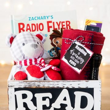 DIY Book Gift Basket – create a customized book with your child's name and fill a basket with their favorite story time essentials.