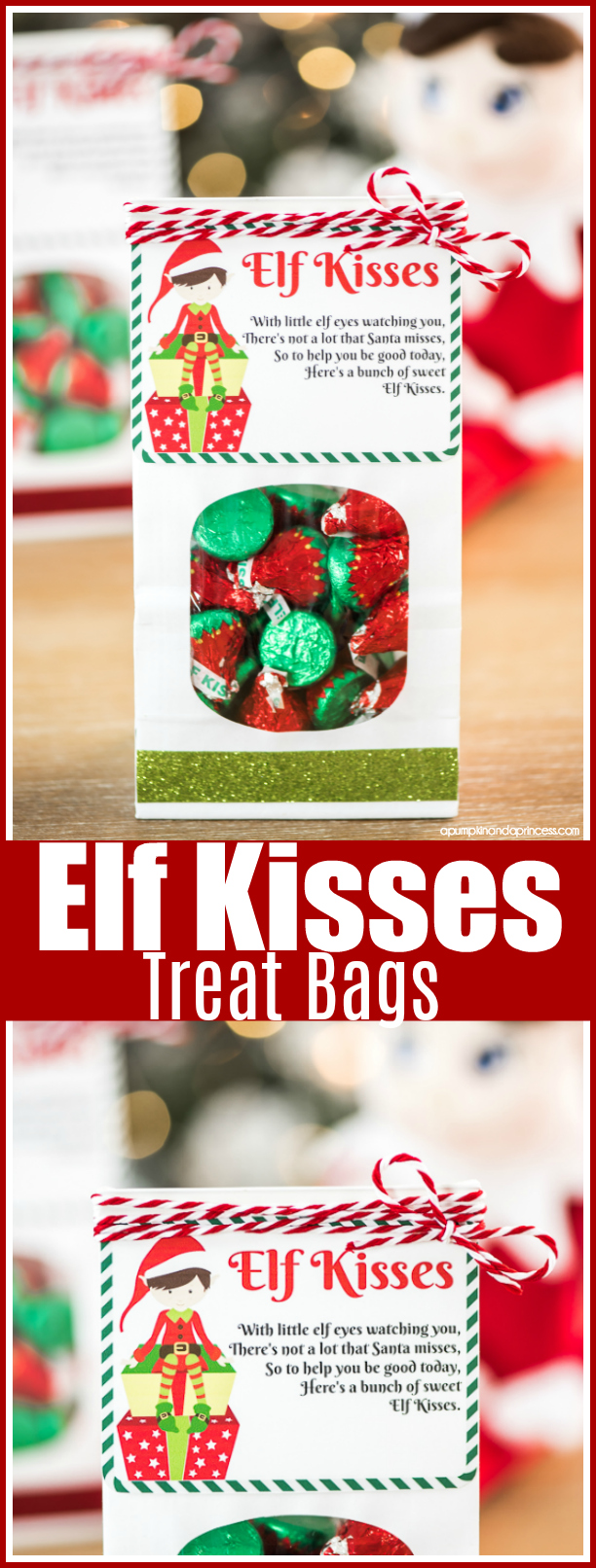 Elf Kisses Treat Bags – Elf Kisses Printable Tag Quote & mini treat bags for your little ones to receive from their elf.