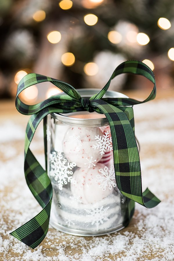 Snowflake Paint Can Pampering Gift – customize handmade gift sets with vinyl snowflakes and clear paint containers.