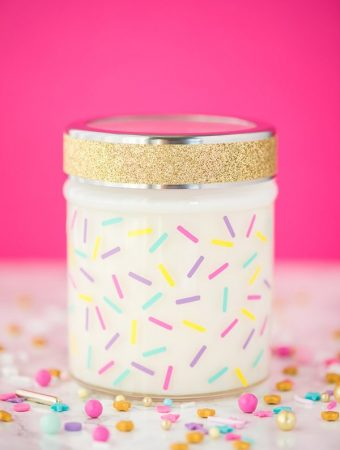 How to make birthday cake scented candles. Soy wax candles made in a jar and decorated with adhesive vinyl sprinkles.