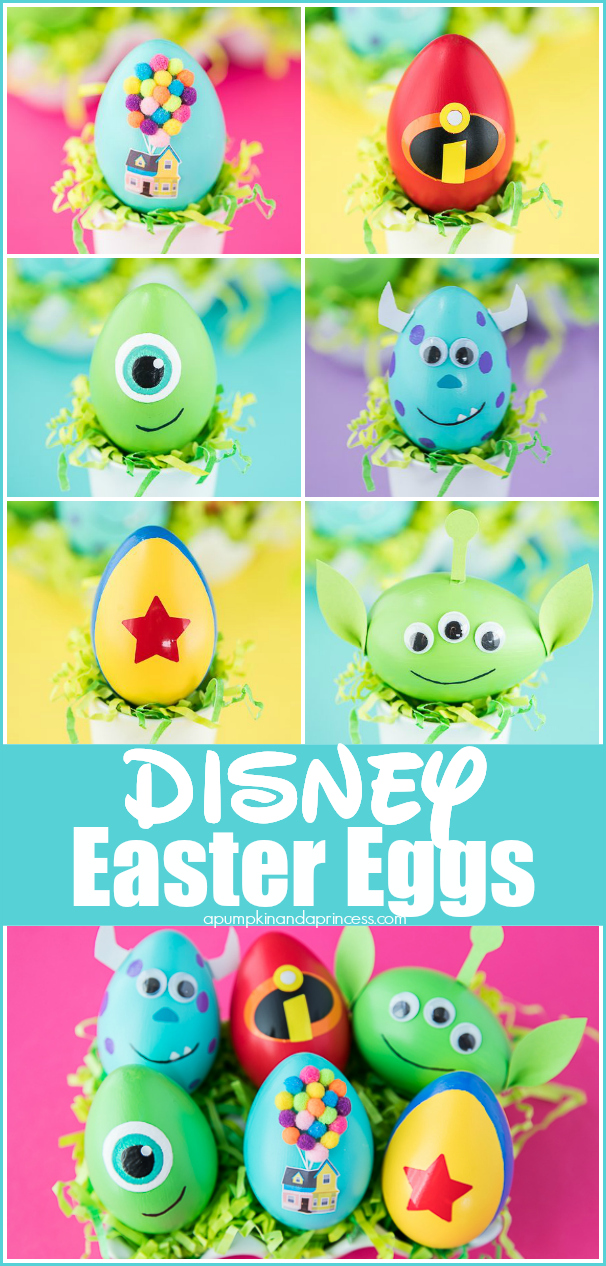 Creative Easter egg ideas inspired by Disney Pixar movies #easter #eggs #disney