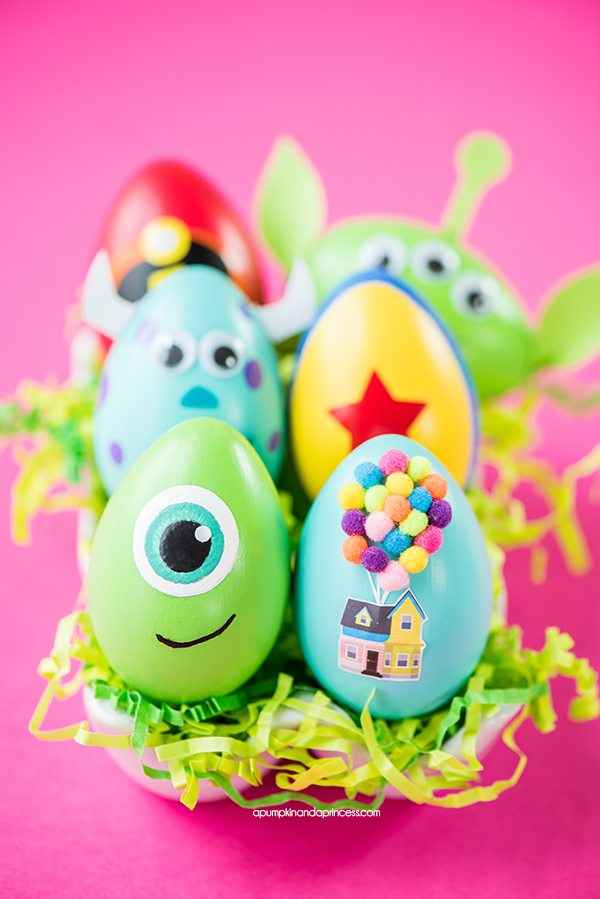 DIY Disney Pixar Easter Eggs – how to make character Easter eggs inspired by Disney Pixar movies. Creative Easter egg decorating ideas for kids.