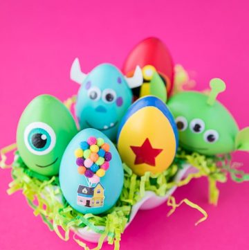 DIY Disney Pixar Easter Eggs – how to make character Easter eggs inspired by Disney Pixar movies. Creative Easter egg decorating ideas for kids.