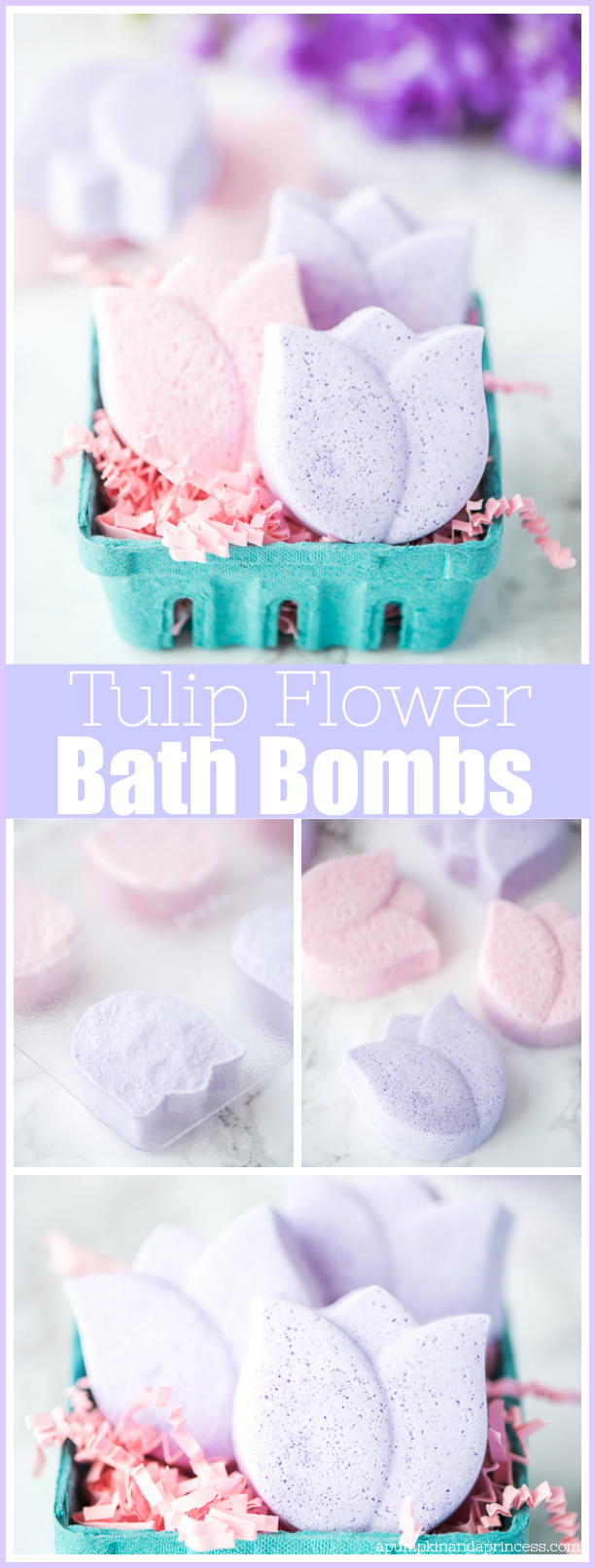 Tulip Bath Bombs – how to make tulip flower shaped bath bombs with moisturizing coconut oil and lavender essential oil.