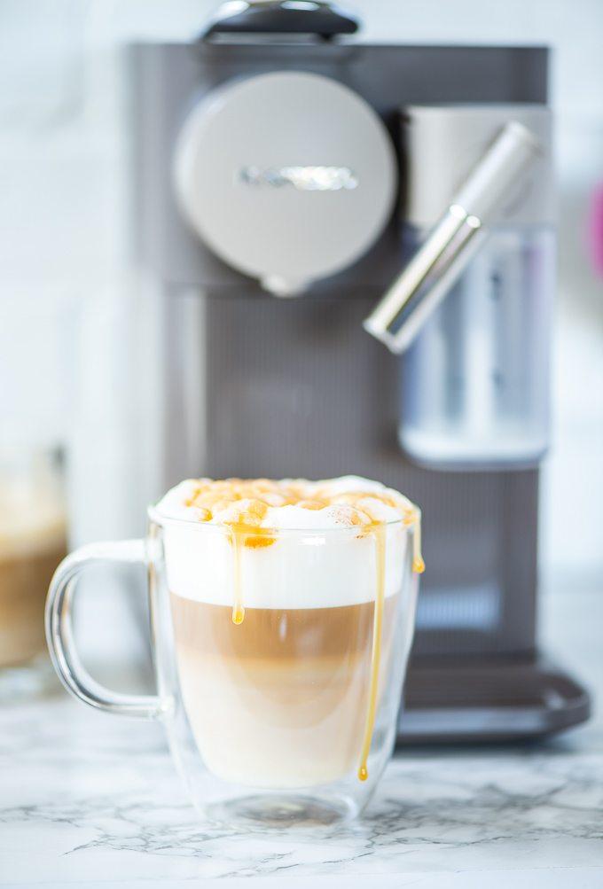 How to make a caramel latte using a Nespresso machine