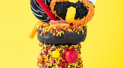 The Incredibles Freakshake - 3 ingredient chocolate milkshake topped with a donut and candy