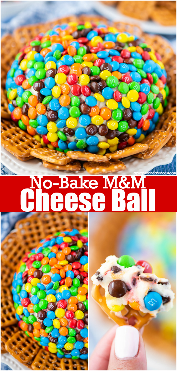 Easy no-bake M&M cheese ball dessert dip. This easy dessert recipe is always a crowd pleaser and can be paired with pretzels, cookies or graham crackers.