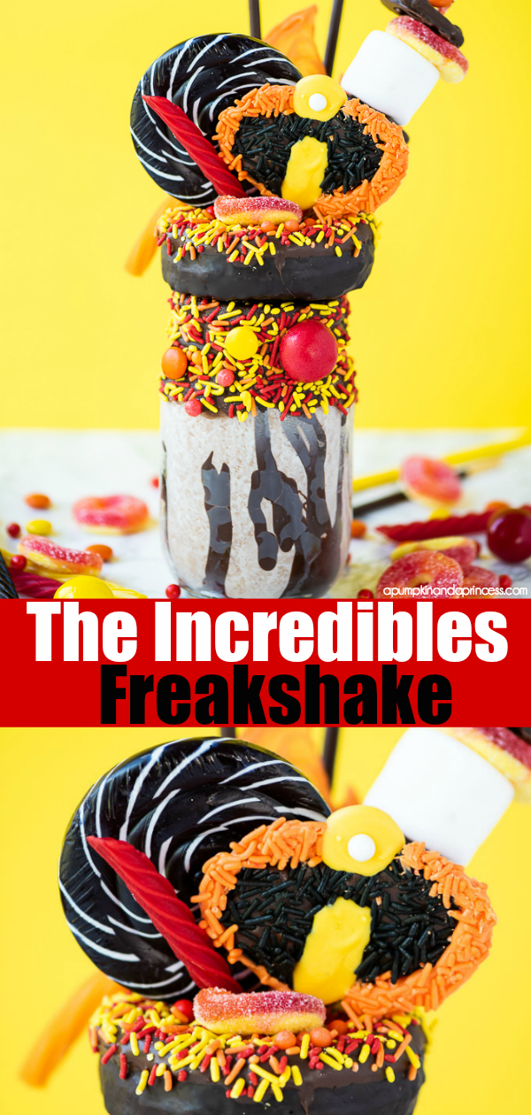 The Incredibles Freakshake - easy chocolate milkshake recipe decorated with fun treats and a handmade Incredibles logo candy.