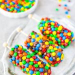 Homemade chocolate covered marshmallows dipped in dark chocolate and M&M's