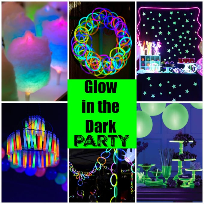 Throw the ultimate glow in the dark party with these easy decorating ideas using glow sticks