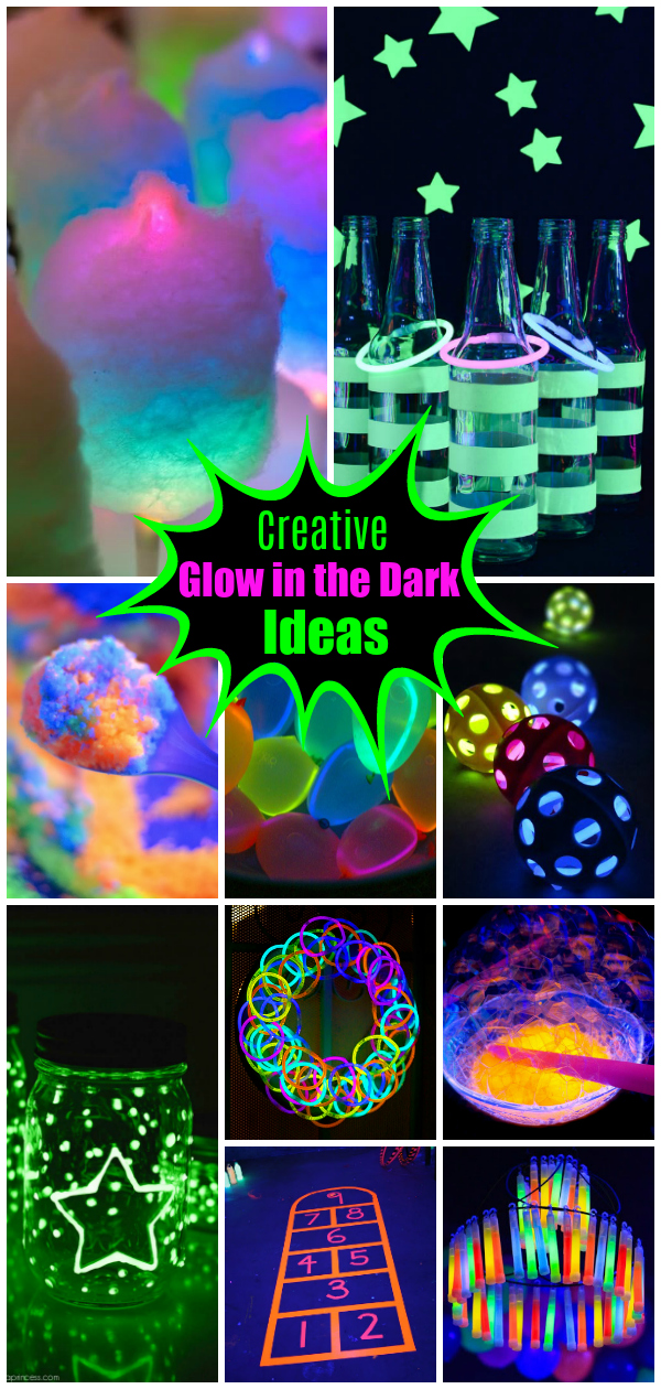 The BEST glow in the dark ideas - glow crafts, party games, decorations and slime recipes.