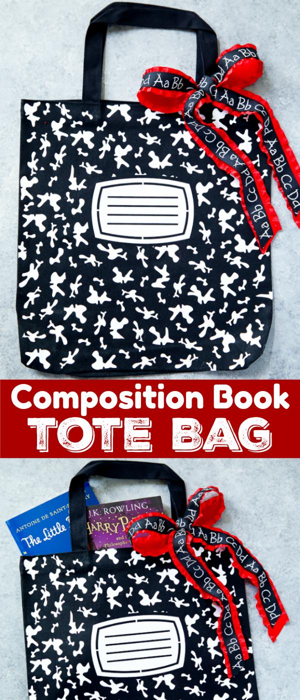 Composition Book Tote Bag - DIY teacher appreciation gift