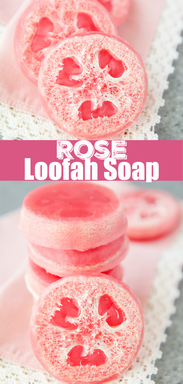 Rose essential oil soap made with an exfoliating loofah