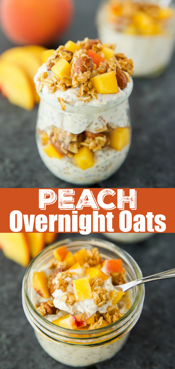 Peach Overnight Oats topped with honey and almond butter granola, made in a mason jar