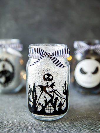 How to make glitter mason jars inspired by The Nightmare Before Christmas