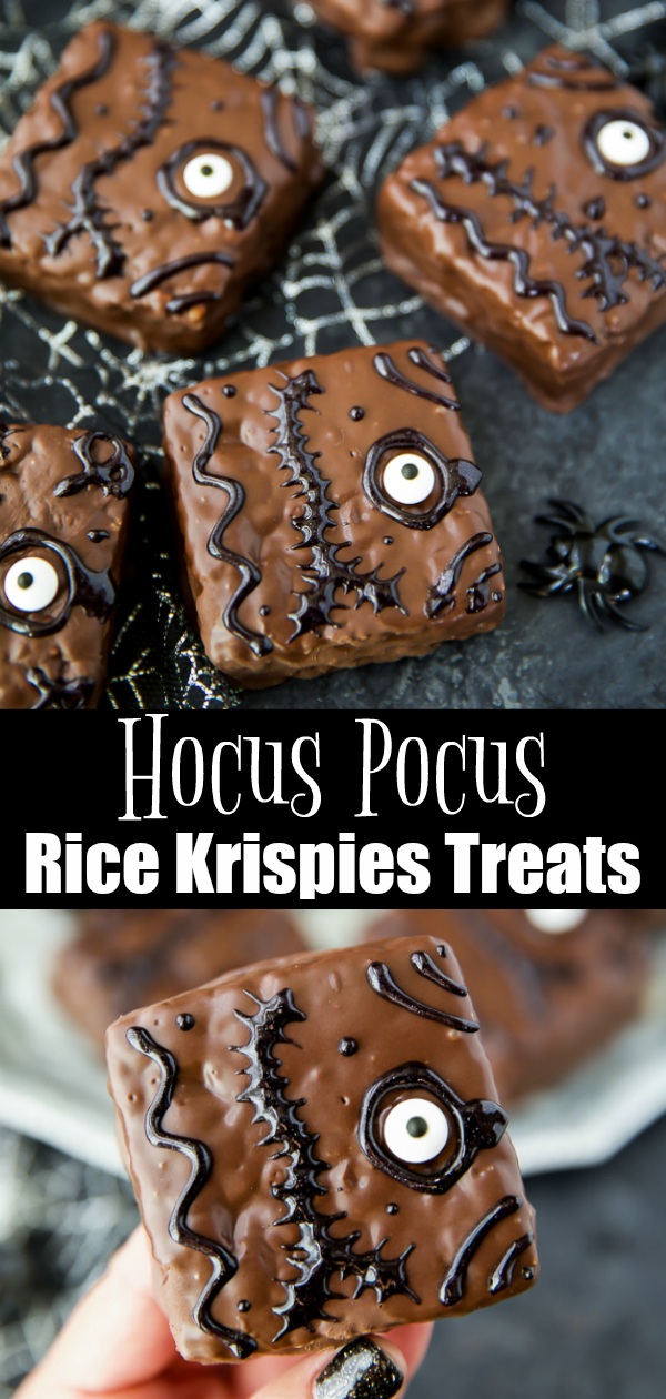 Hocus Pocus spell book inspired rice krispies treats - easy to make and a great Halloween party food recipe #hocuspocus #ricekrispies #treats