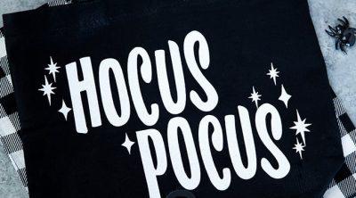 Glitter iron-on Hocus Pocus treat bag