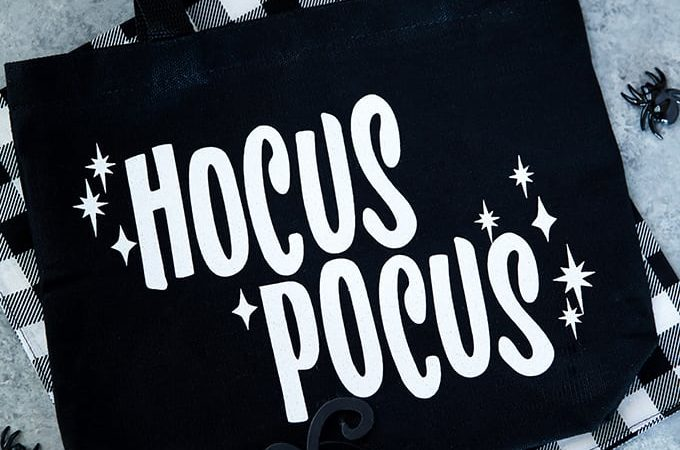 Glitter iron-on Hocus Pocus treat bag