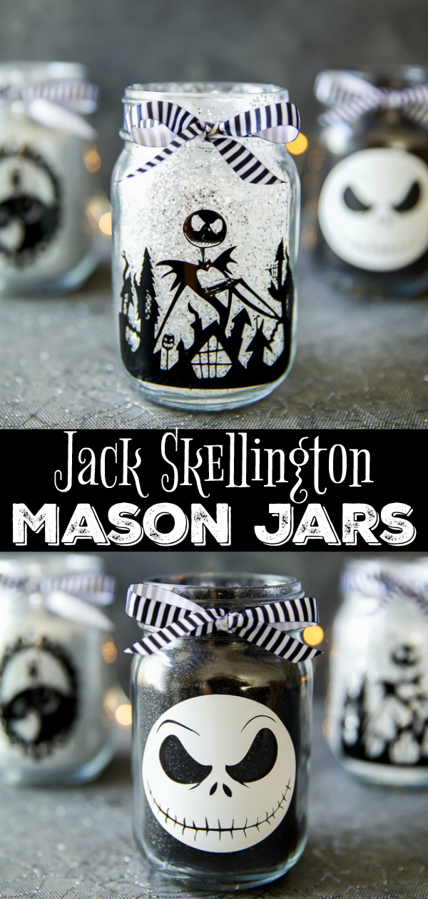 DIY Jack Skellington Mason Jars - how to make glitter mason jars for Halloween