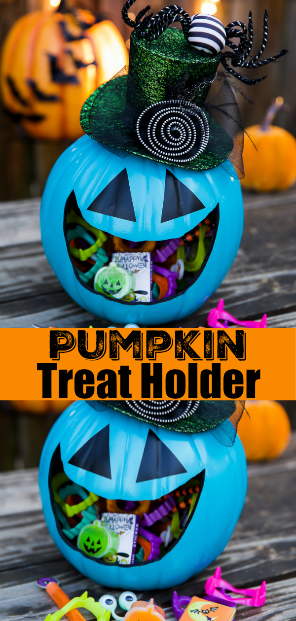 DIY Teal Pumpkin Treat Holder