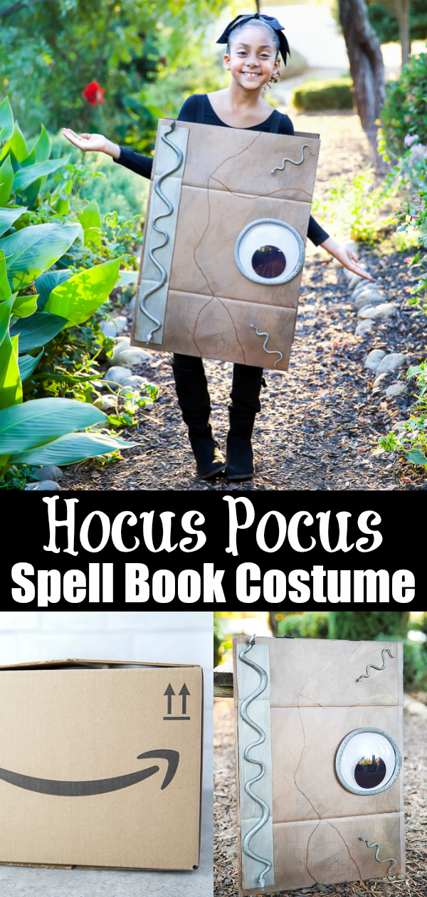Easy DIY Spell Book Costume inspired by Hocus Pocus #Halloween #boxtumes