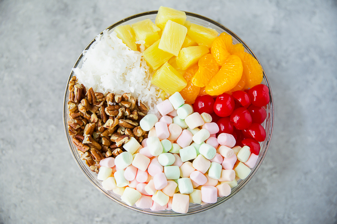 how to make marshmallow fruit salad